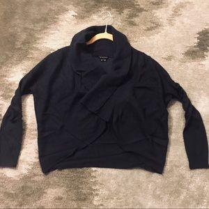 THEORY Navy Mixed Knit Bolero Wrap Cardigan